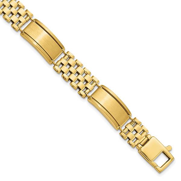 Italian 14k Gold Men's Polished and Brushed Contrasting Design Bracelet
