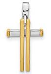 Italian 14K Two-Tone Gold Double Cross Necklace
