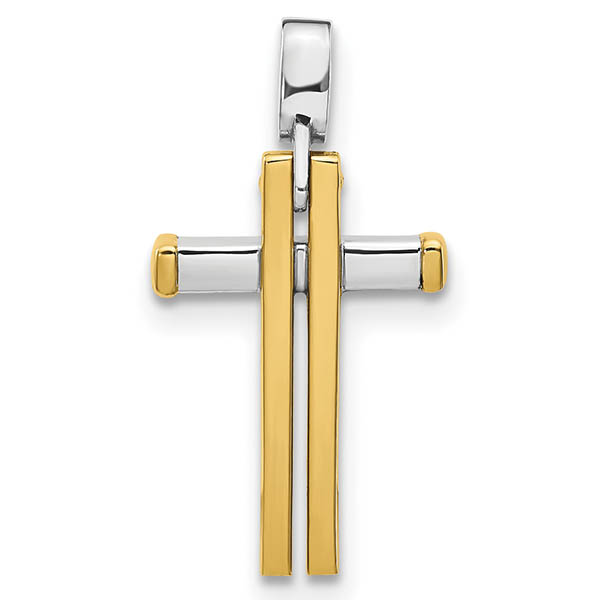 Italian 14k Two-Tone Gold Double Cross Necklace