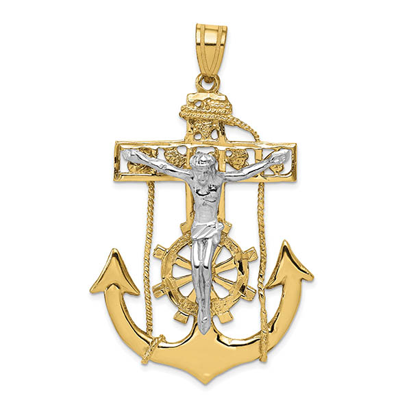 Large 14K Two-Tone Gold Mariner's Anchor Crucifix Pendant