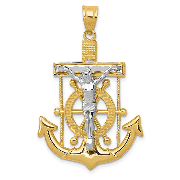 Men's 14K Two-Tone Gold Mariner's Anchor Crucifix Necklace