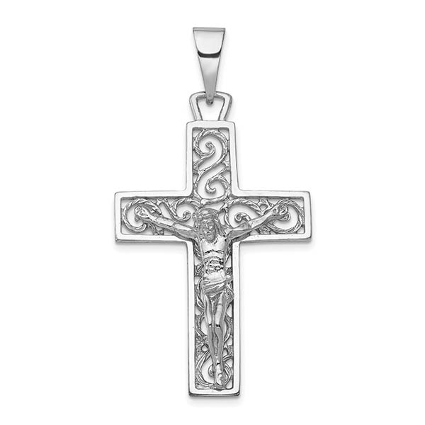Men's 14K White Gold Paisley Swirly Design Crucifix Pendant