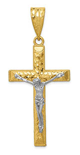 Men's Large 14K Two-Tone Gold Diamond-Cut Nugget Crucifix Pendant