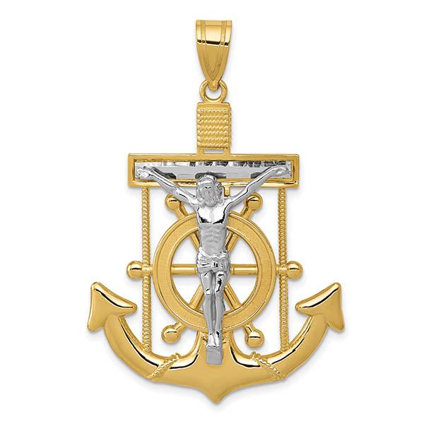 Men's Large 14K Two-Tone Gold Diamond-Cut Mariner's Anchor Crucifix Pendant