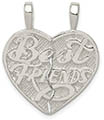 Best Friends Break-Apart Heart Necklace, Sterling Silver