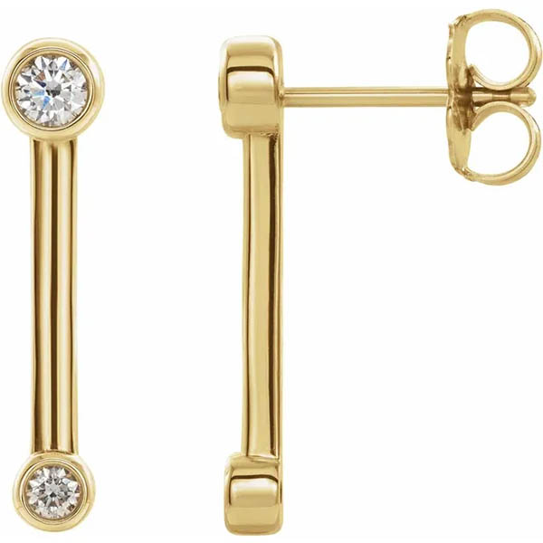 Bezel-Set Diamond Bar Earrings, 14K Gold