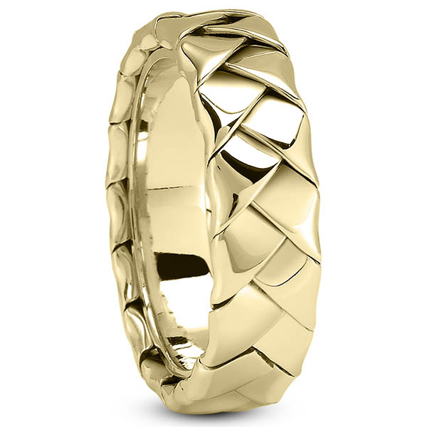 Braided Wedding Band Ring with Invisible Band, 14K Gold