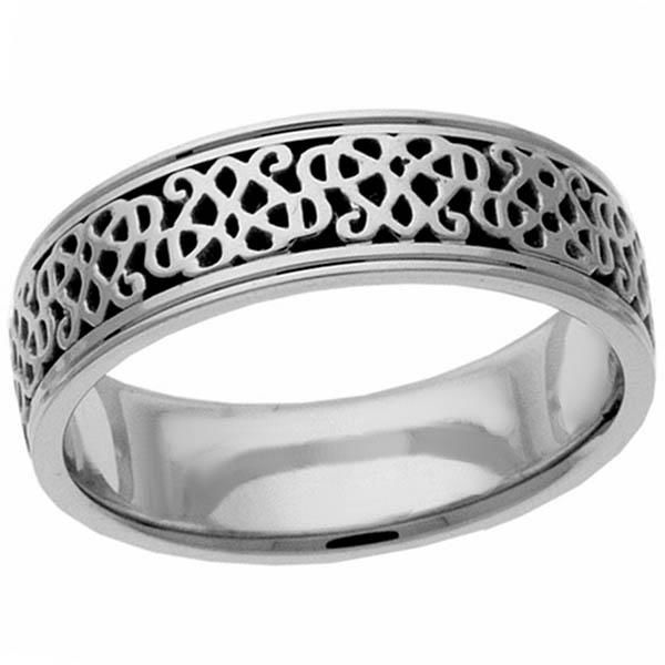 Celtic Heart Knot Wedding Band Ring, 14K White Gold