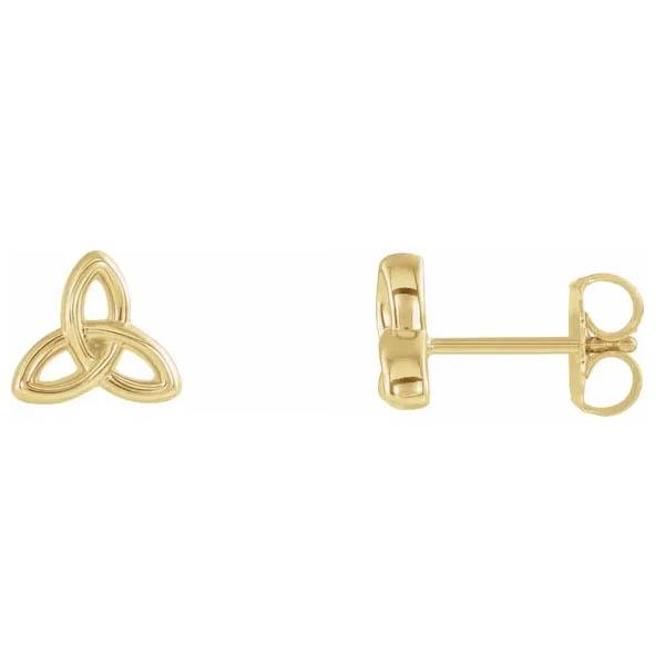 Celtic Trinity Knot Earrings, 14K Gold