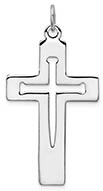 Cutout Cross of Nails Necklace in Sterling Silver