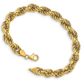 Italian Designer 14K Gold Rope Bracelet For Women