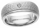 Diamond Handmade Hammered Wedding Band Ring, 14K or 18K White Gold
