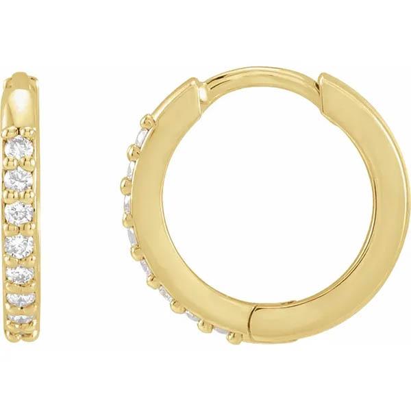 Diamond Huggie Earrings, 14K Yellow Gold
