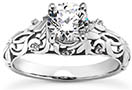 Diamond Flourish Paisley Engagement Ring in 14K or 18K White Gold
