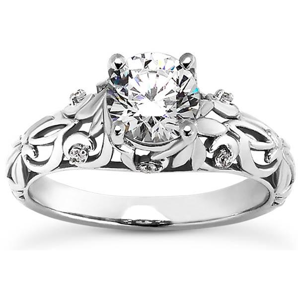 Diamond Flourish Paisley Engagement Ring in 14K or 18K White Gold