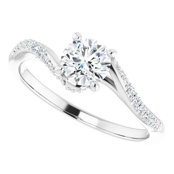 Diamond Subtle Twist Engagement Ring, 14K White Gold