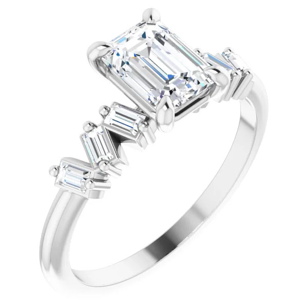 1 Carat Center Emerald-Cut Claw-Prong Engagement Ring