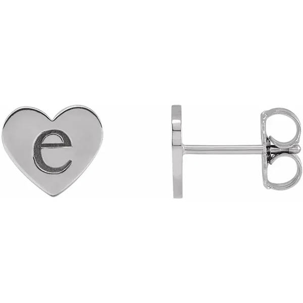 Engravable Heart Stud Earrings, 14K White Gold