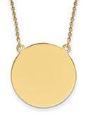 14K Gold Engravable Disc Charm Necklace