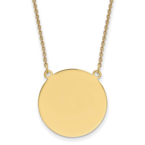 Engravable Round Disc Charm Necklace, 14K Gold