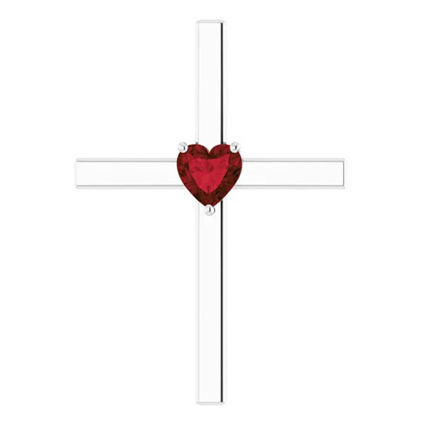 Heart-Shaped Garnet Cross Necklace in 14k White Gold
