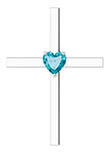 Heart-Shaped London Blue Topaz Cross Necklace, 14K White Gold