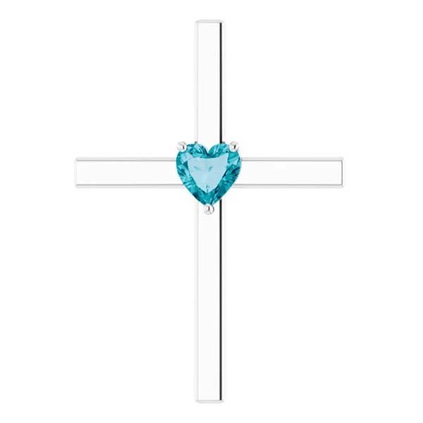 Heart-Shaped London Blue Topaz Cross Necklace, 14K White Gold