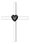 Heart-Shaped Onyx Cross Necklace, 14K White Gold