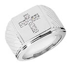 Heavy 14K Solid White Gold Men's Diamond Cross Ring