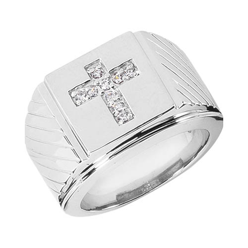 Heavy 14K Solid White Gold Men's Diamond Cross Ring
