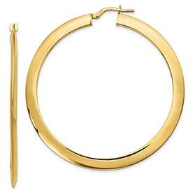 Italian 14K Gold Beveled Hoop Earrings (2 1/8