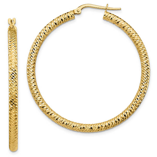 """Italian 14k Gold Diamond-Cut Sparkle Hoop Earrings (1-11/16"""")"""