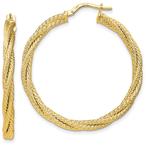 Italian 14K Gold Glitter and Sparkle Twisted Hoop Earrings