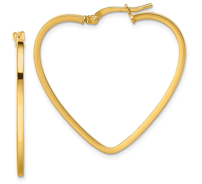 Gold Heart Hoop Earrings for Valentine's Day