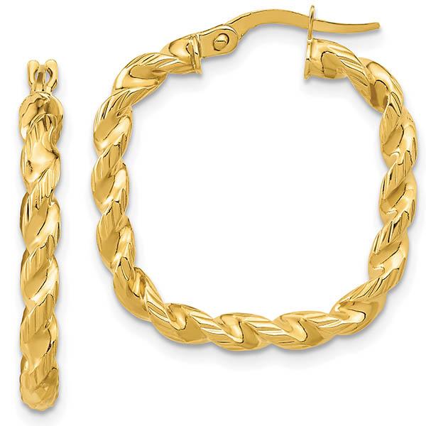 Italian 14k Gold Square Twisted Hoop Earrings