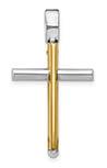 Italian 14K Two-Tone Gold Tube Cross Pendant