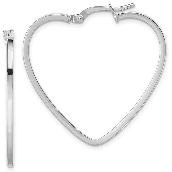 Italian 14k White Gold Heart Hoop Earrings