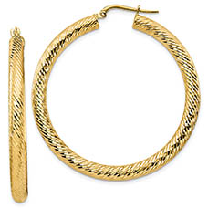 Italian Designer Diamond-Cut Hoop Earrings, 14K Gold (1.75