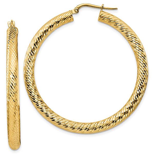 Italian Designer Diamond-Cut Hoop Earrings, 14K Gold (1.75