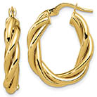 Italian Twisted Oval Hoop Earrings, 14K Gold