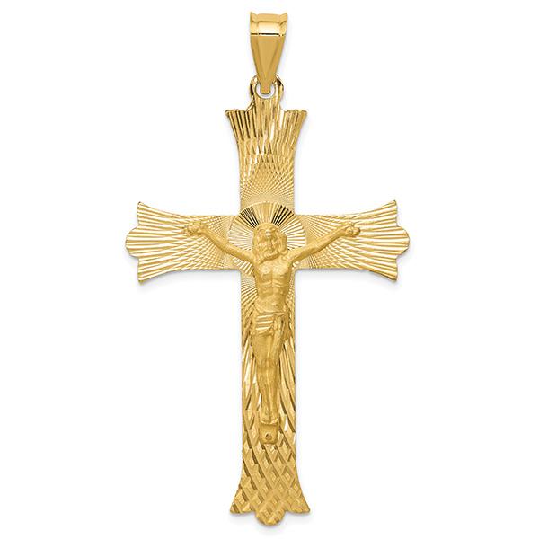 Large 14K Gold Diamond-Cut Crucifix Necklace for Men