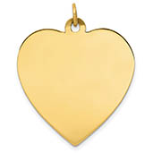 Large 14K Gold Engravable Heart Necklace Pendant