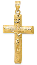 Large 14K Gold Men's Textured Crucifix Pendant
