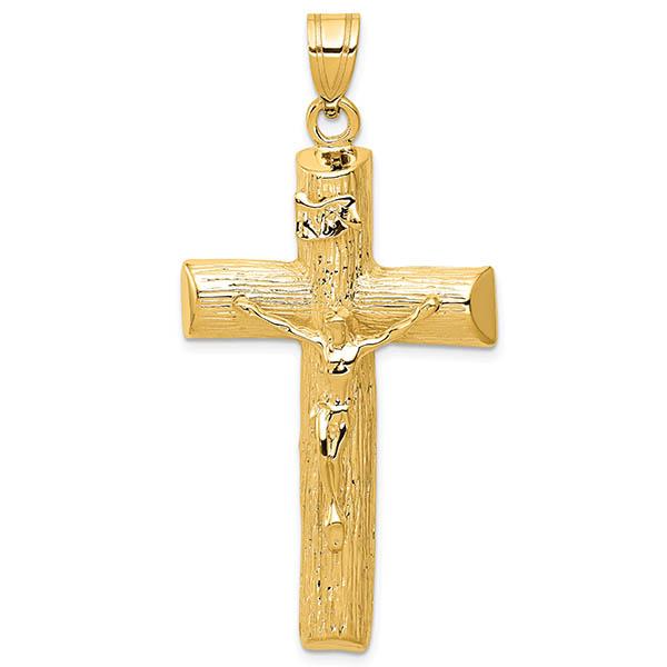 Large 14K Gold Men's Textured Crucifix Pendant