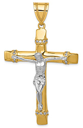Large Men's 14K Two-Tone Gold Crucifix Pendant with CZ