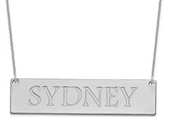 Large 14K White Gold Custom Name Plate Necklace