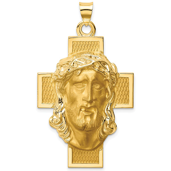 Large Crucifix Necklace with the Face of Jesus in 14K Gold
