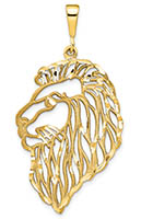 Large Filigree Lion Head Pendant in 14K Gold