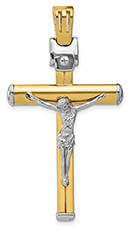 Men's Large Italian 14K Two-Tone Gold Crucifix Necklace