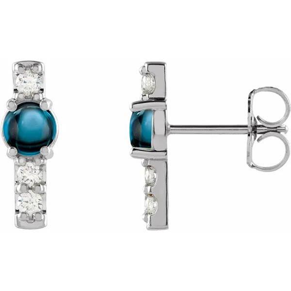 London Blue Topaz and Diamond Bar Earrings in 14k White Gold